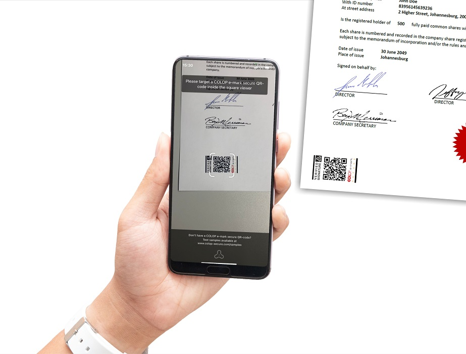 Sacnning COLOP e-mark secure QR-code