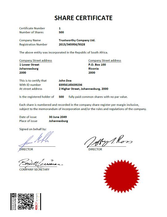 Share certificate sample